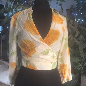 Bebe Wrap Blouse Small Yellow with Orange Flowers